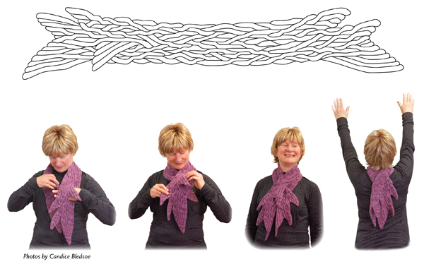 Feathered Fins - Collection of patterns for Cat Bordhi's newest landscape. Is it a scarf? a Shawl? It's a tildes and it's only limits are your imagination.