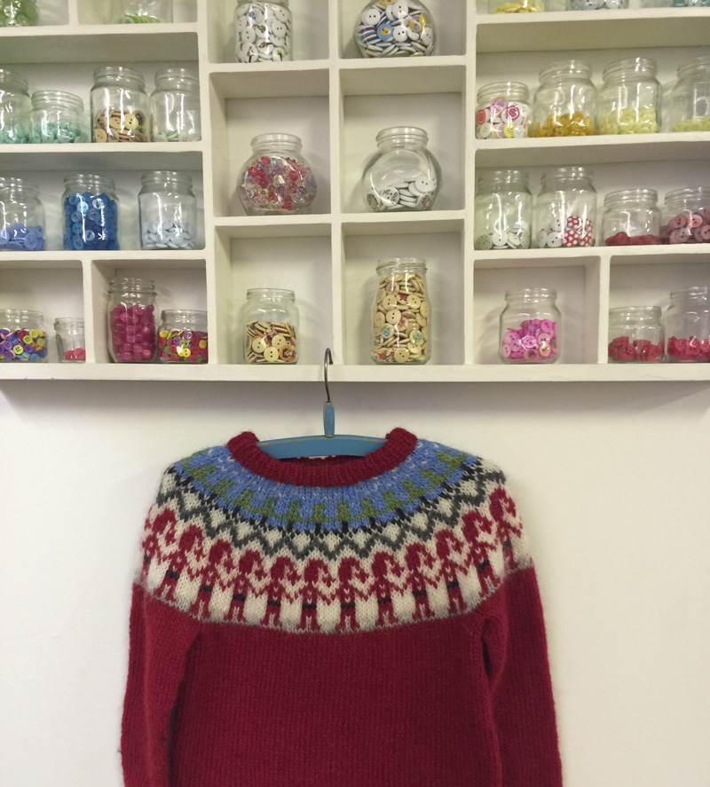 Red yoke sweater