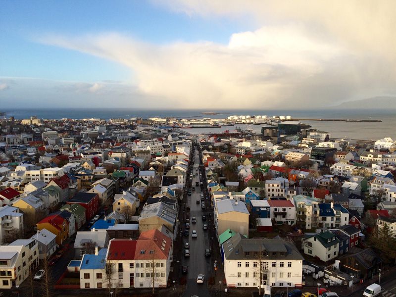 Reykjavik with snowstorm coming