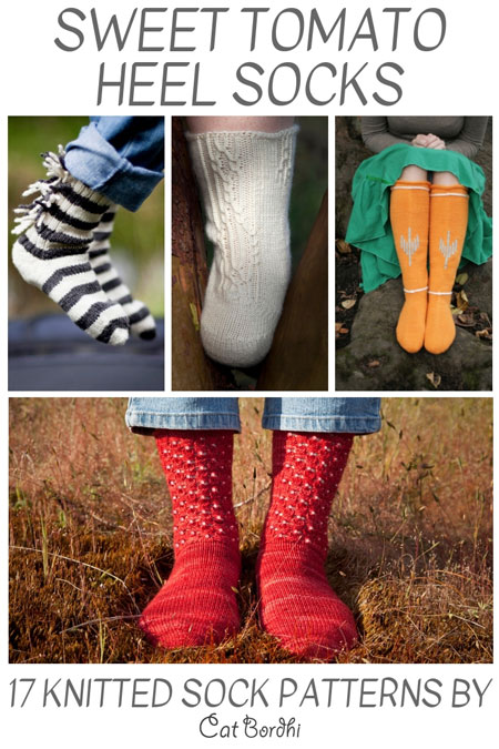 17 Sweet Tomato Heel Sock knitting patterns are perfect for all knitters. Cat's eBook will walk you through each sock.