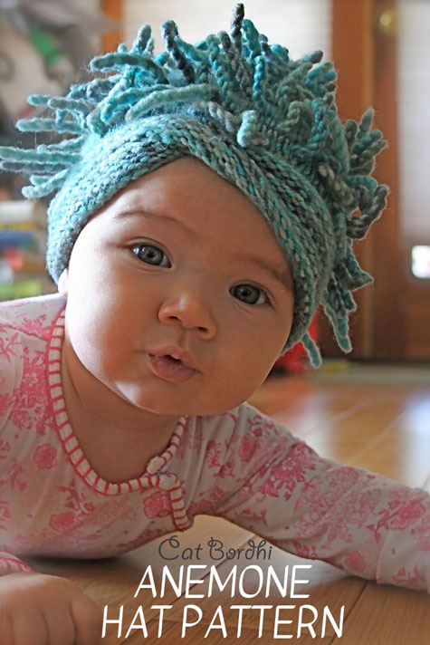 Cat Bordhi's Anemone Hat. The knitting pattern includes the Everyday Anemone in 5 sizes, from baby to large adult, and a heavier version, the Arctic Anemone, in 2 adult sizes. Both versions give you the choice of Moebius brim or a simple circle brim.